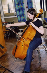 'Cellist Claudine Cassidy rehearses one of Roma's works